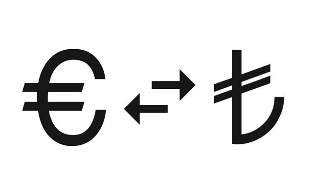 Euro Symbol und Türkische Lira Symbol, groß in schwarzer Farbe