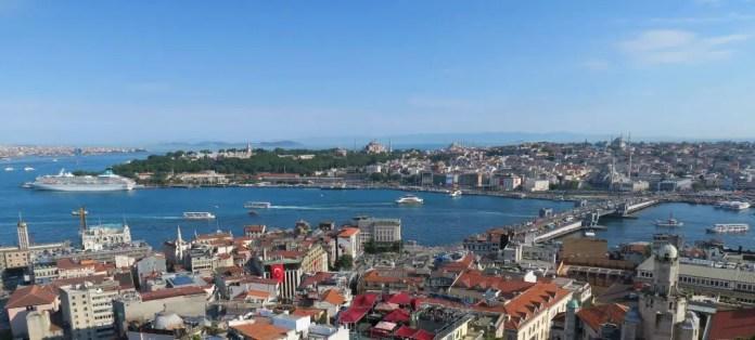 Ausblick auf Sehenswürdigkeiten wie die Hagia Sophia, Blaue Moschee, den Topkapi Palast, Galata Brücke, die Asiatische Seite, Prinzen Inseln, das Golgende Horn, Marmarameer und viele andere Sehenswürdigkeiten in Istanbul.