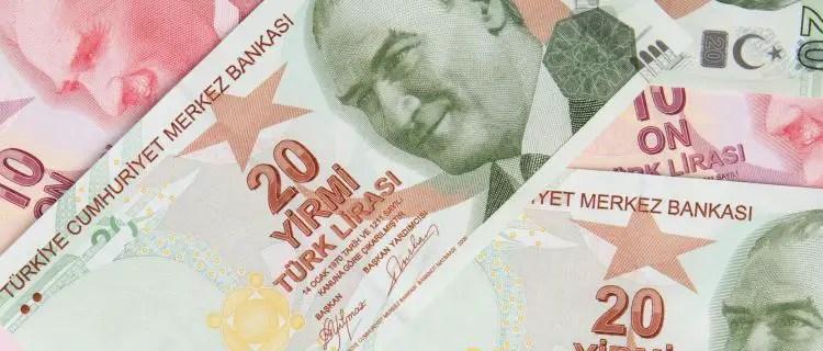 Türkische Banknoten, in Ausschnitten fotografiert.