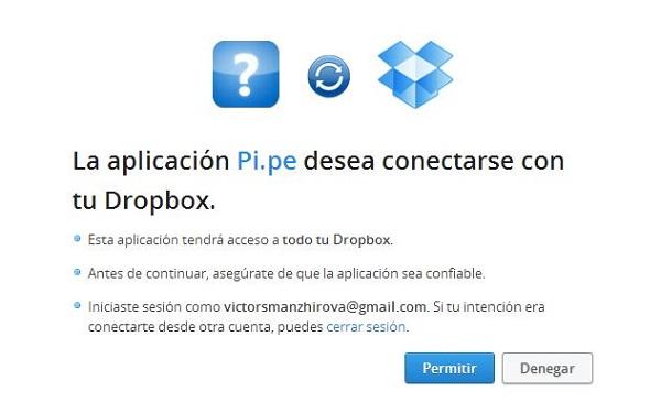 Pipe conexión con Dropbox