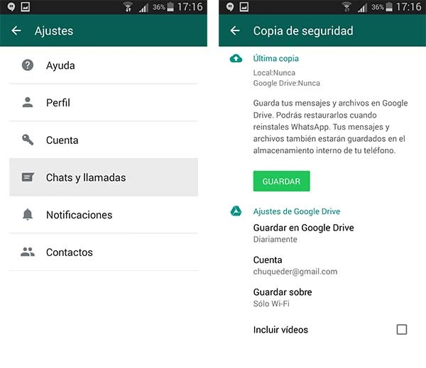 whatsapp permisos google drive