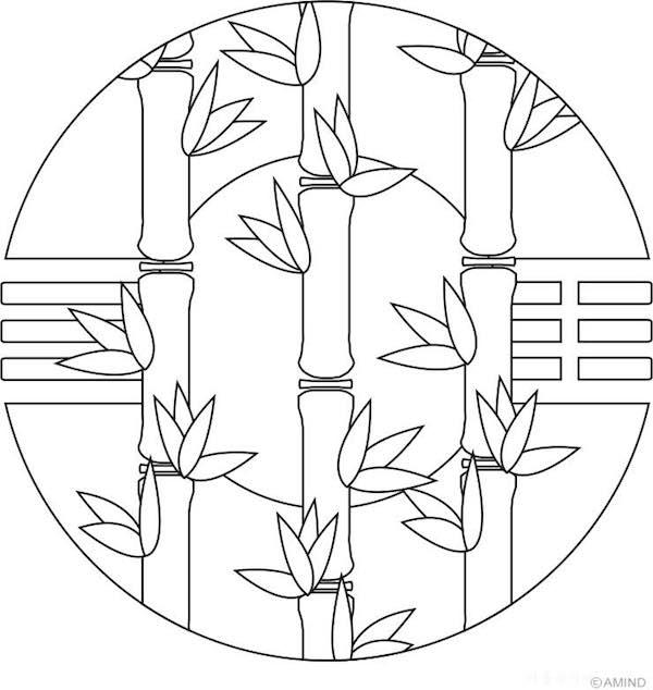 mandala bambú colorear