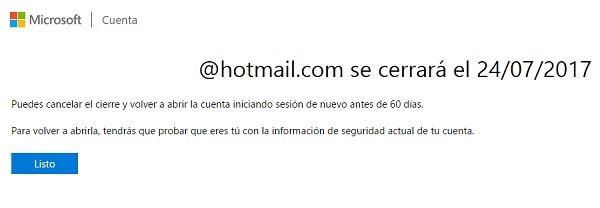 hotmail mensaje cierre