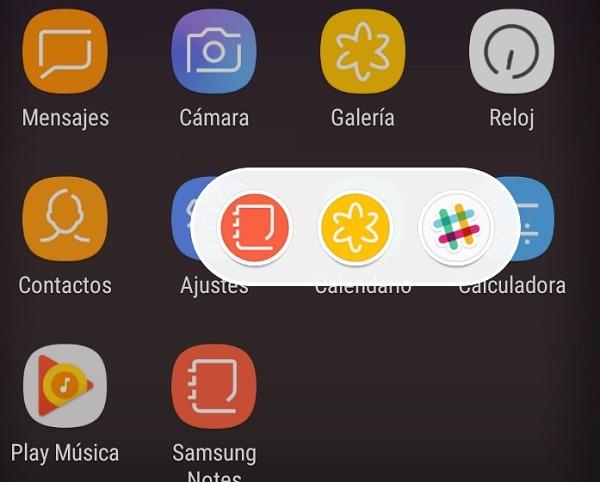 Iconos flotantes en el Samsung Galaxy S8