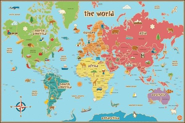 mapas del mundo(planeta) póster