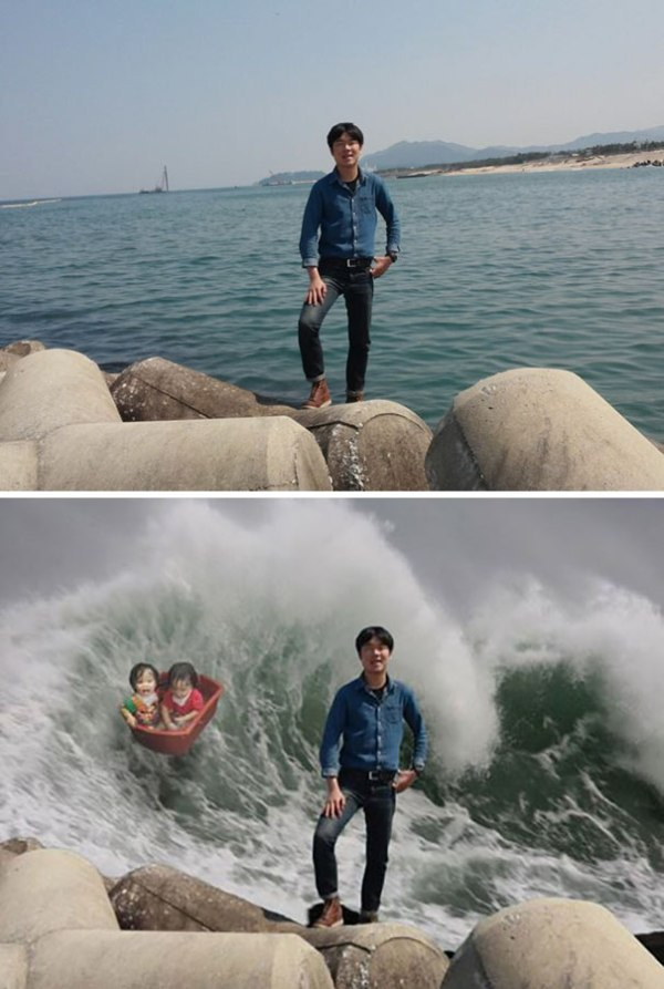 foto tsunami montaje