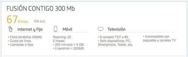 tarifas fibra trescientos con Movistar, Vodafone y Orange fusion contigo