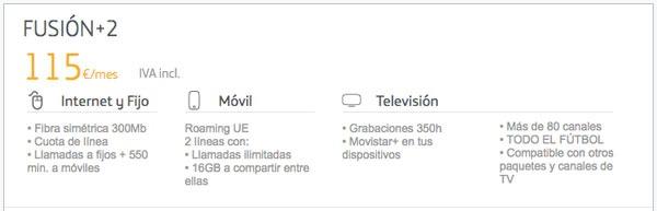 tarifas fibra trescientos con Movistar, Vodafone y Orange fusion+ 2