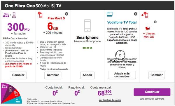 tarifas fibra trescientos con Movistar, Vodafone y Orange one de vodafone basica con futbol