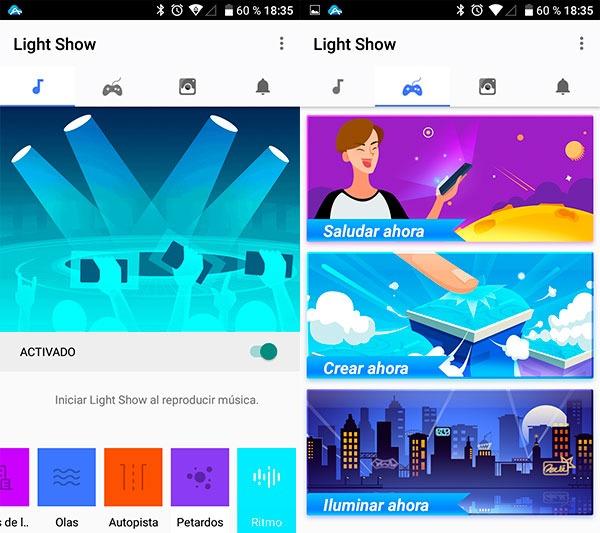 prueba Alcatel A5 LED Light Show primeras opciones