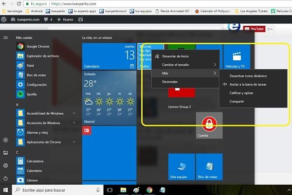 desactivar animacion inicio windows 10