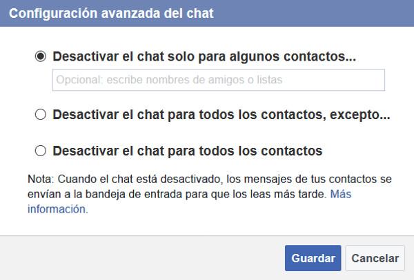 Trucos Facebook - Desactivar el chat para ciertos contactos