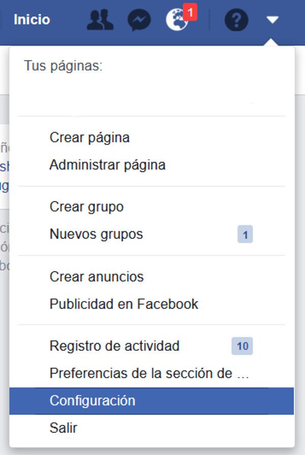 Trucos Fb - Menú de configuración