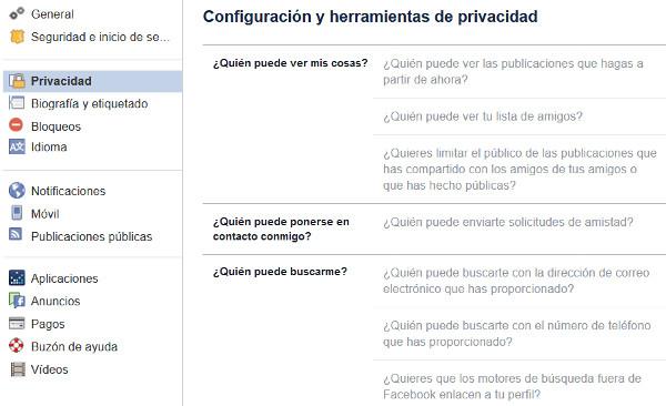 Trucos Facebook - Ocultar tu perfil
