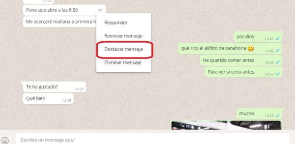 destacar mensaje whatsapp web