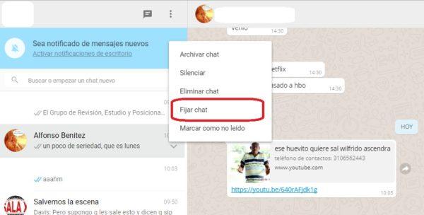 Cómo fijar un chat en WhatsApp Web
