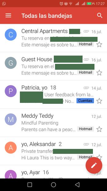 gmail app todas las bandejas