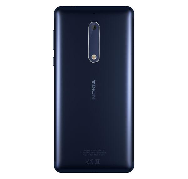 lanzamiento Nokia cinco trasera en azul