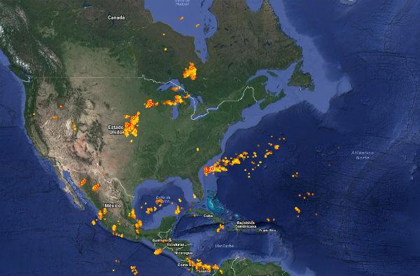 Sigue la caída de rayos en la Tierra en período real