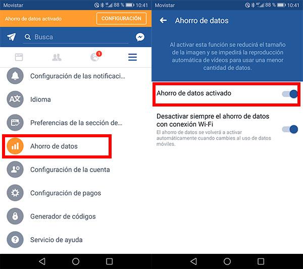 activar ahorro datos Fb movil configuración