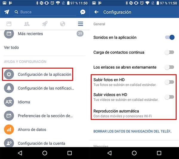 activar ahorro datos Fb movil configuración individual