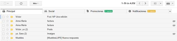 gmail bandejas
