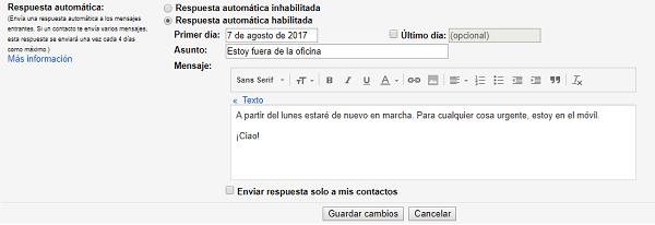 configurar respuesta automática