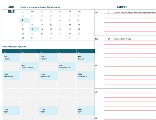 Calendario anual escuela horario Lunes