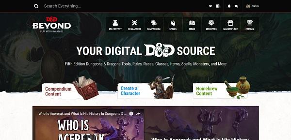 Dungeons & Dragons Beyond, fichas y manuales para el juego de rol D&D