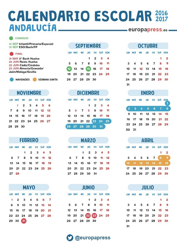 Calendario 2017-2018 por Comunidades Autónomas