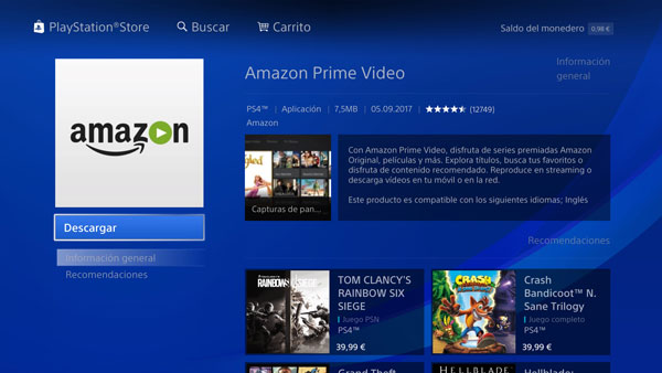 Amazon Prime Video ya se puede ver a través de la PS 4