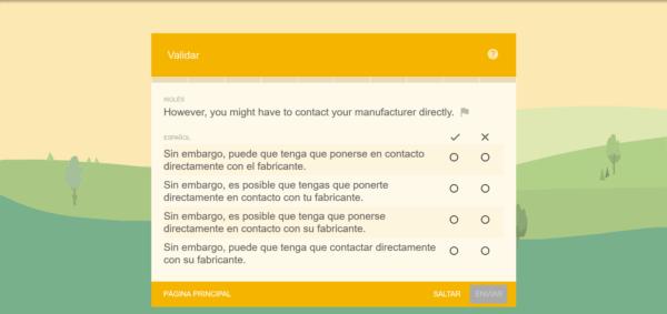 validar traducciones