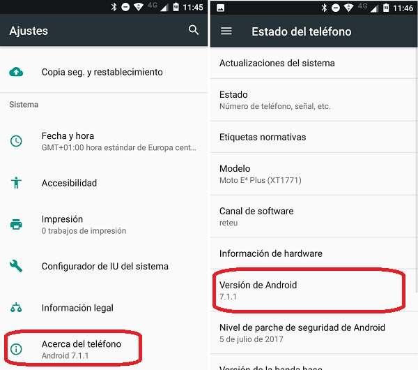 version android telefono