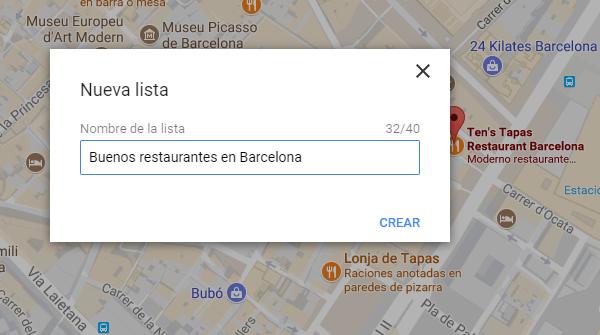nueva lista almacenar lugares maps