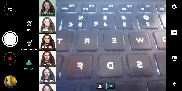 Interfaz de la cámara para selfies del <stro data-recalc-dims=