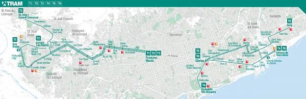 Mapas del tranvía de Barcelona