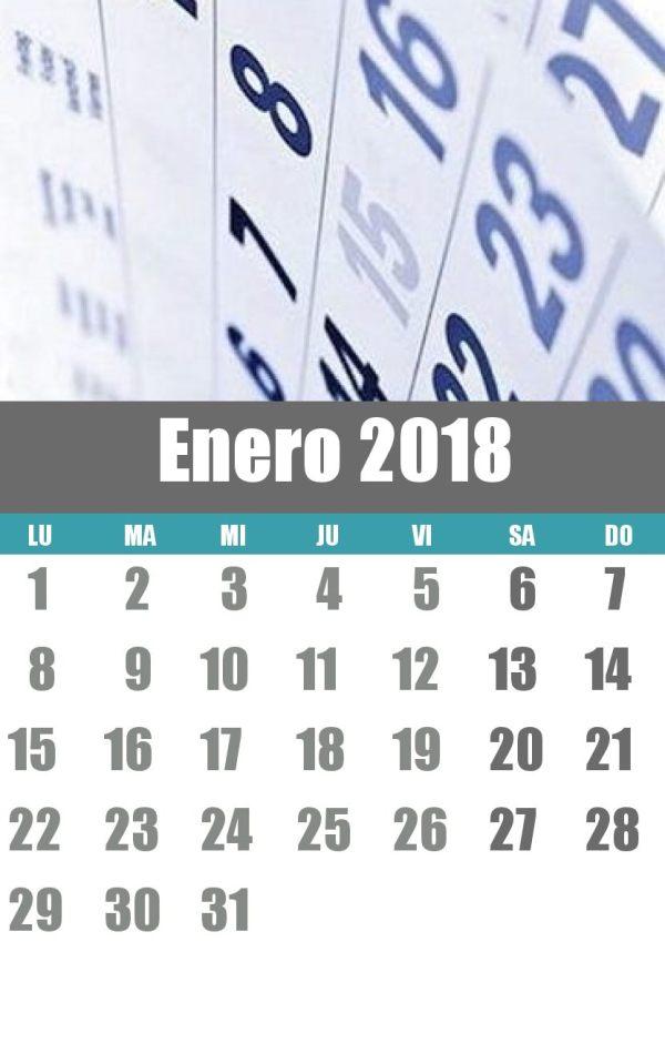 Calendario enero 2018 laboral