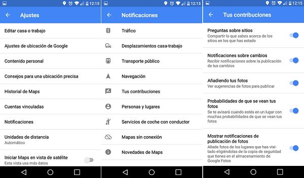 notificaciones google maps