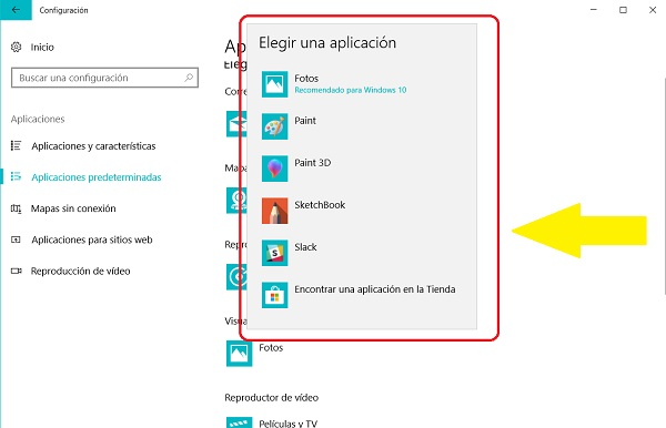 elegir aplicacion windows 10