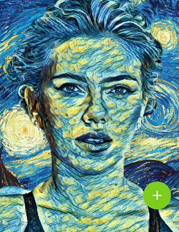 Convertir foto en dibujo - Scarlett Johansson Van Gogh