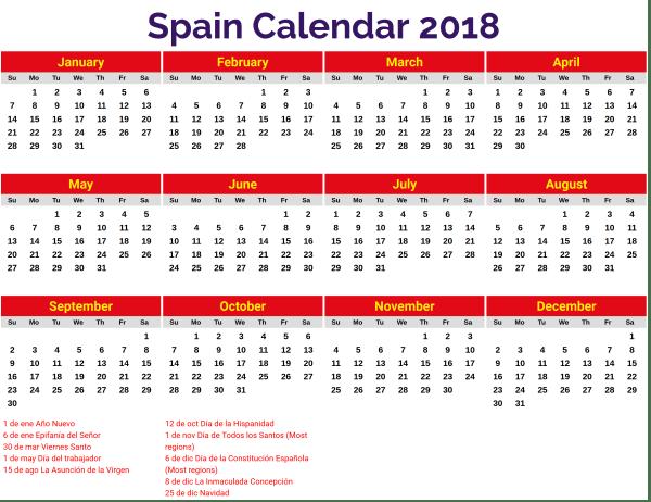 Calendario de vacaciones 2018 en España