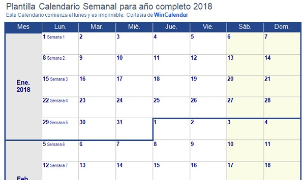 plantilla calendario