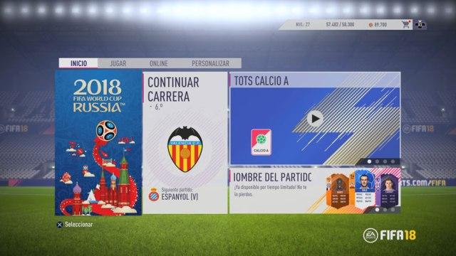 Cómo descargar y jugar al Mundial de Rusia(país) en FIFA 18 pantalla principal