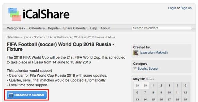 cómo agregar partidos del Mundial de Rusia(país) 2018 al calendario de google website iCalshare