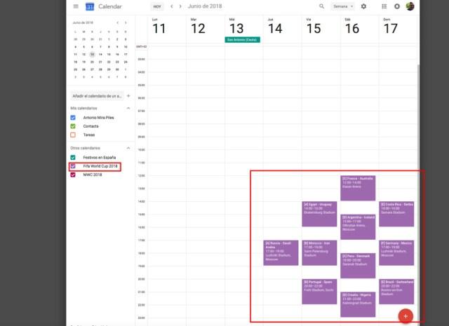 cómo agregar partidos del Mundial de Rusia(país) 2018 al calendario de google website ya incluido