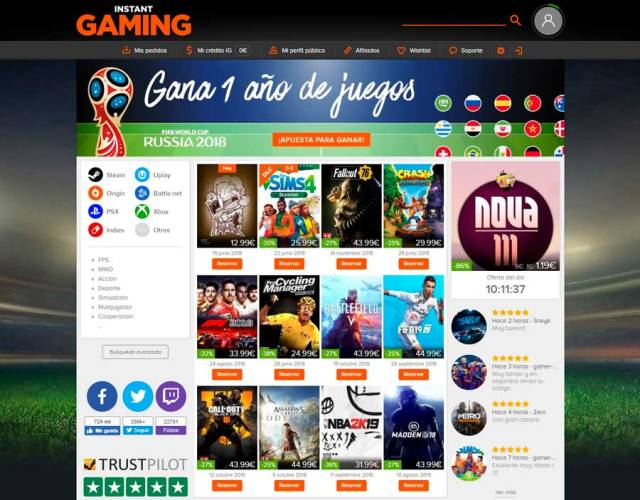 5 tiendas online para adquirir games a buen precio(valor) Instant Gaming