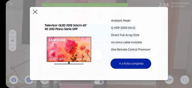 probamos app Samsung℗ para calcular tamaño ideal del televisor pantalla ficha