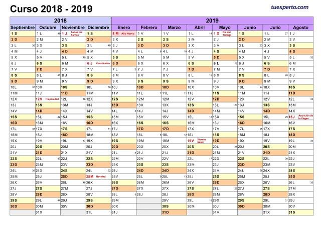 Calendario Escolar Asturias 2020 2019.Calendario Escolar 2018 2019 Mas De 100 Plantillas E Imagenes Para