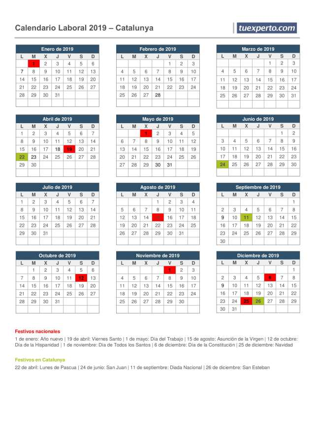 calendario laboral 2019 catalunya