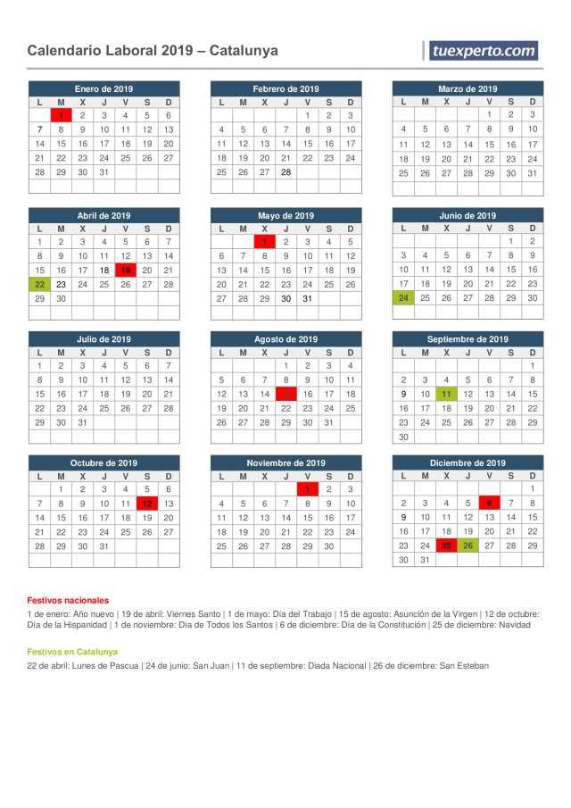 calendario laboral 2019 catalunya